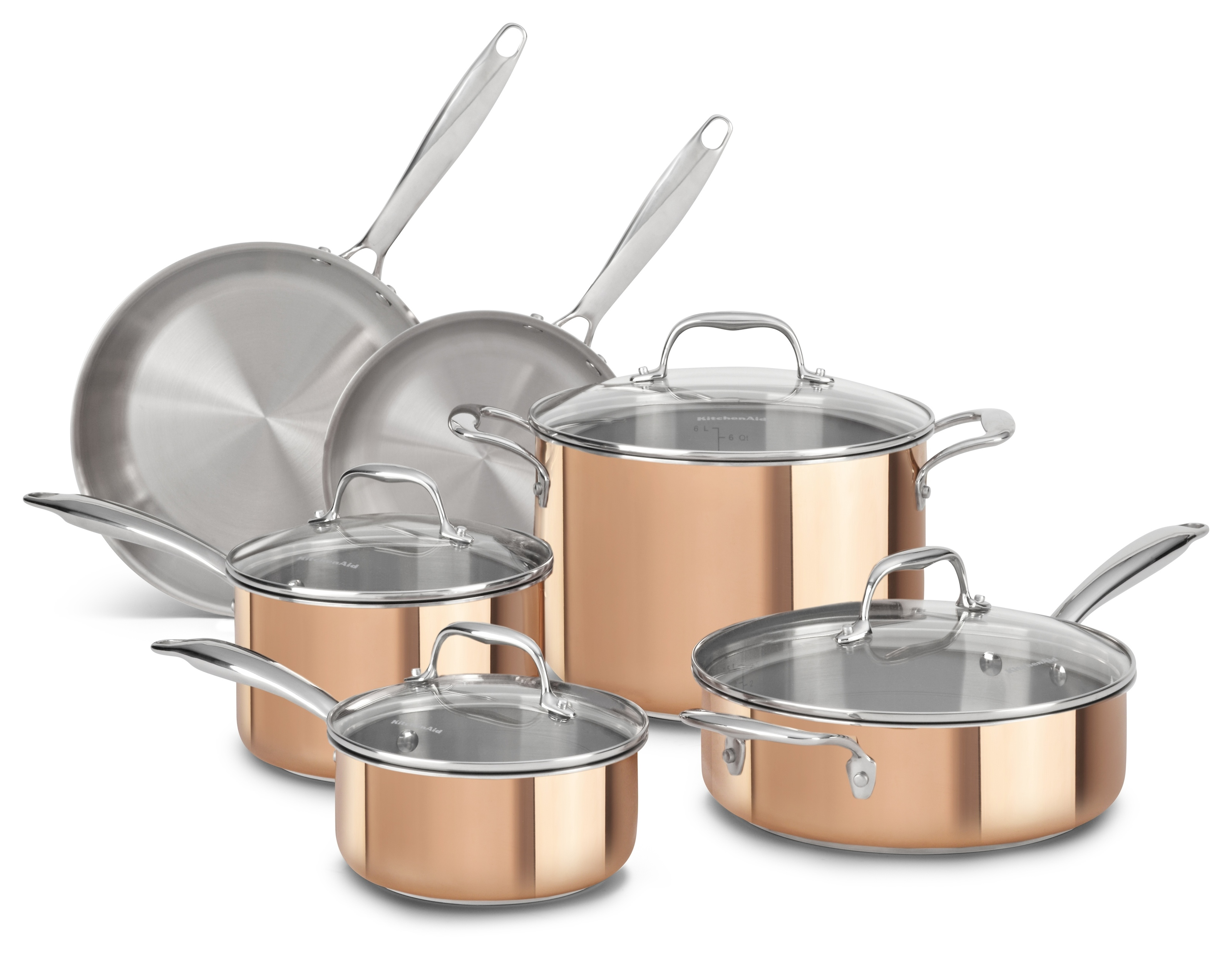 KitchenAid Copper CLAD Tri-Ply 10-Piece Cookware Set, MRP $1,299 (1)
