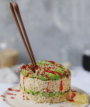 avocado roll sushi cake
