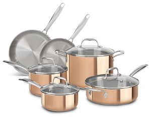 KitchenAid Copper CLAD Tri-Ply 10-Piece Cookware Set, MRP $1,299 (1)