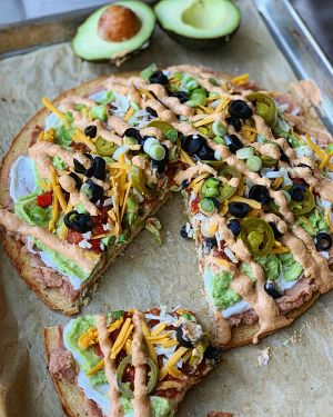 seven layer dip flatbread with avocados from mexico